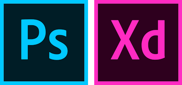 Adobe Photoshop and Adobe XD