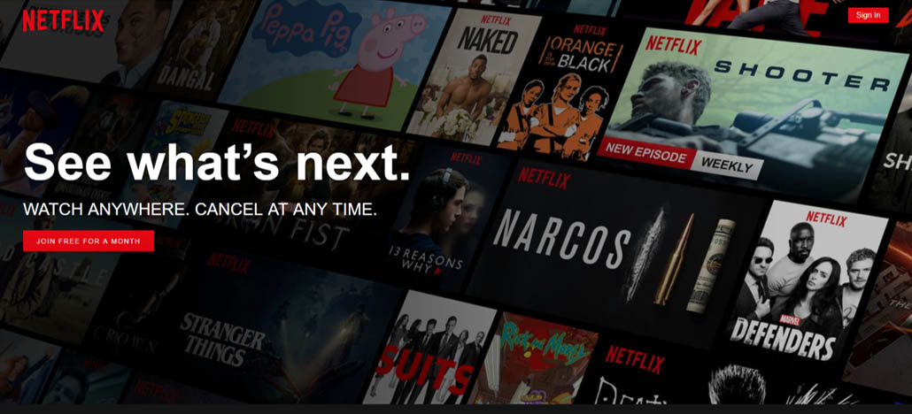 Netflix.com's Homepage - An eye-catching immersive photo