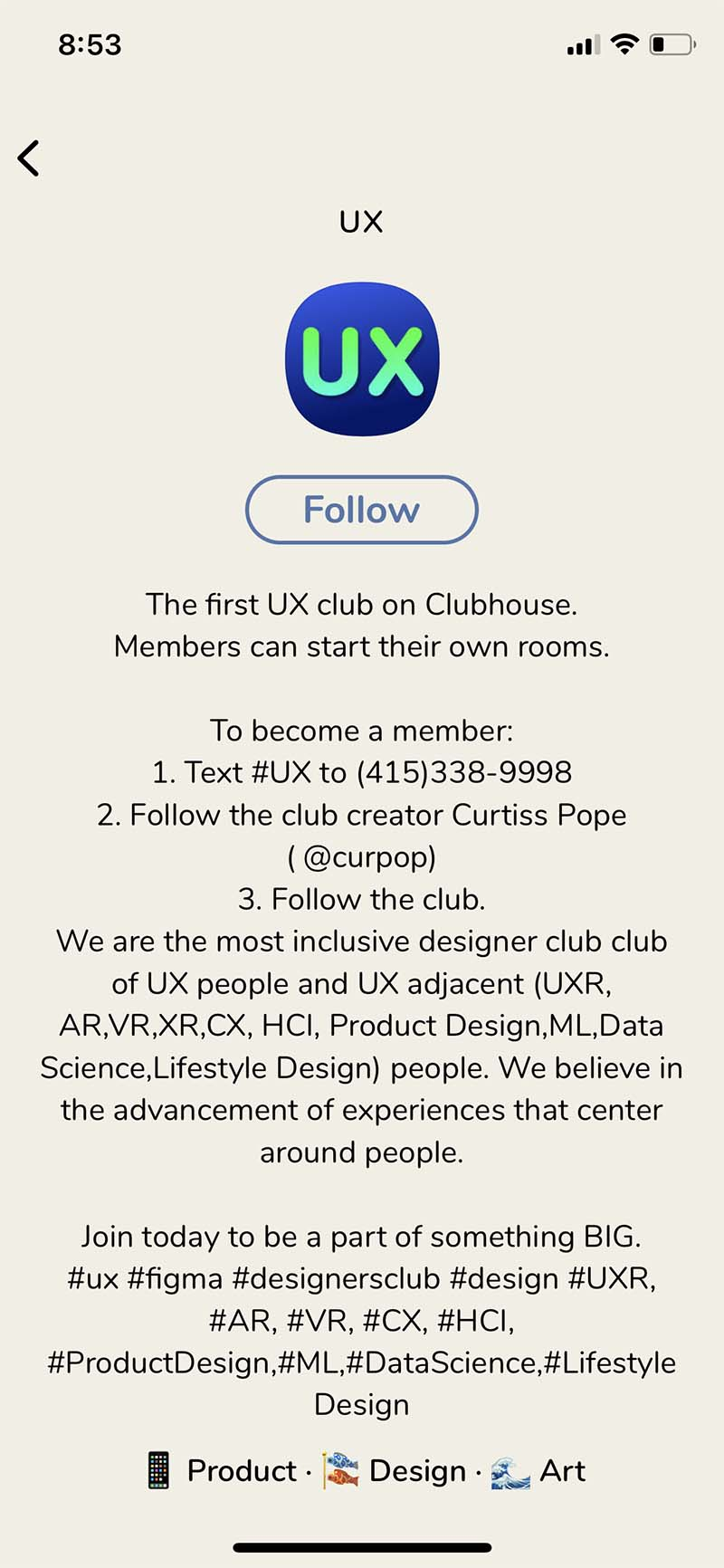 Clubhouse - Following a room